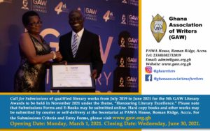 Read more about the article GHANA ASSOCIATION OF WRITERS (GAW)<br>2021 GAW LITERARY AWARDS: Honouring Literary Excellence
