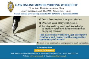 GAW ONLINE MEMOIR WRITING WORKSHOP