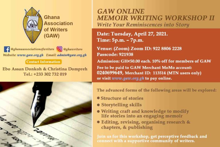 GAW ONLINE MEMOIR WORKSHOP TWO