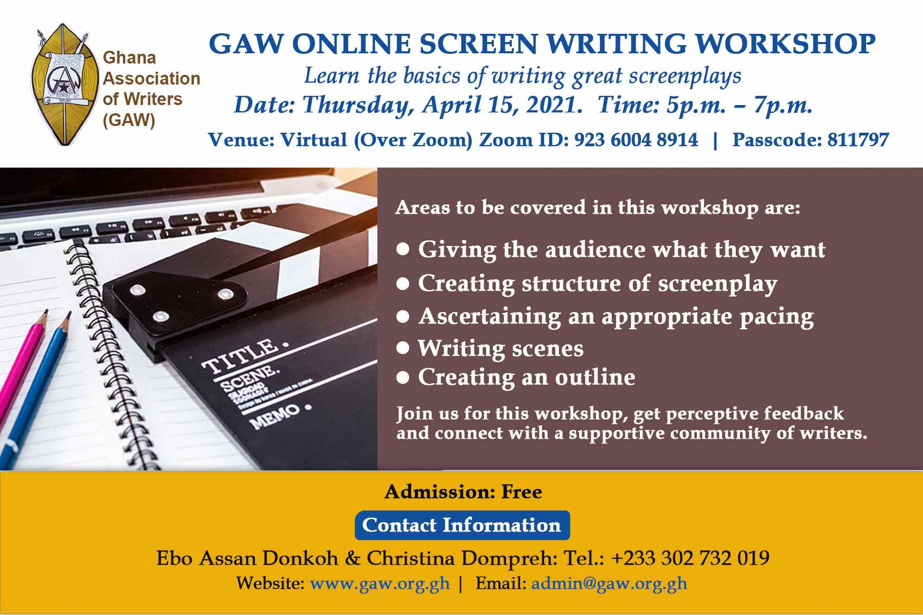 GAW ONLINE SCREEN WRITING WORKSHOP