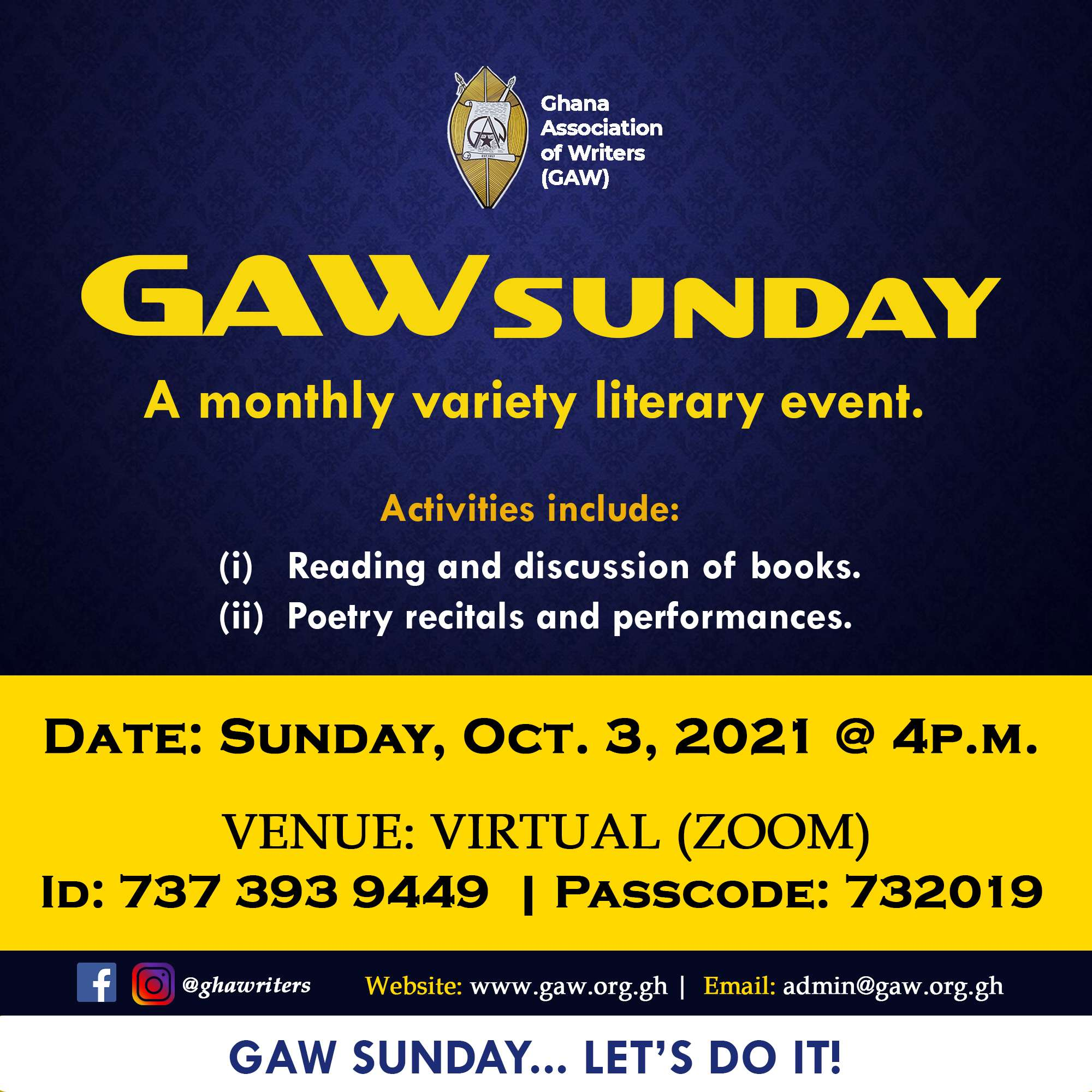 You are currently viewing GAW Sunday, October 2021